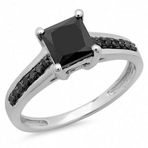 1.60 Carat (ctw) 14K White Gold Princess & Round Black Diamond Solitaire With Accents Engagement Ring