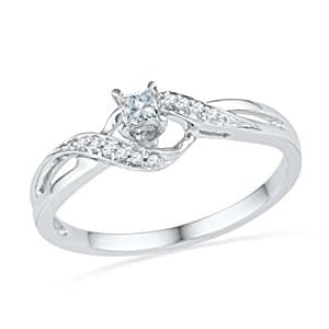 10KT White Gold Princess and Round Diamond Promise Ring (0.13 CTTW)