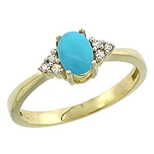 10K Yellow Gold Natural Turquoise Ring Oval 6x4mm Diamond Accent, sizes 5-10