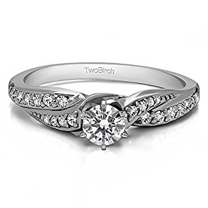 Sterling Silver Infinity Wave Promise Ring with Diamonds (G-H,I2-I3) (0.32 ct. tw.)