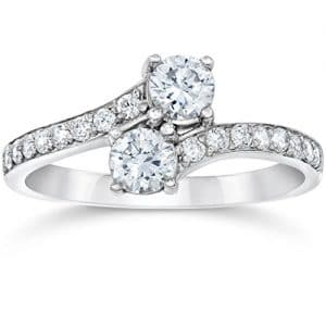 Forever Us Two Stone Round Diamond 1.00Ct Solitaire Ring 14k White Gold